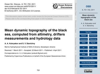Mean Dynamic Topography of the Black Sea... by Kubryakov, A. A.