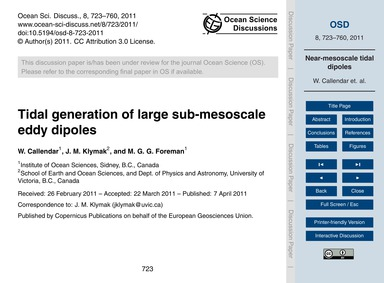 Tidal Generation of Large Sub-mesoscale ... by Callendar, W.