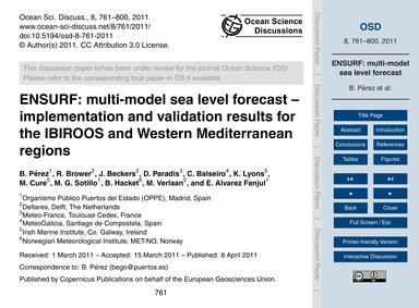 Ensurf: Multi-model Sea Level Forecast –... by Pérez, B.
