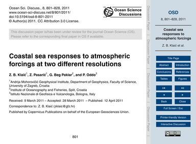 Coastal Sea Responses to Atmospheric For... by Klaić, Z. B.