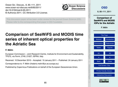 Comparison of Seawifs and Modis Time Ser... by Mélin, F.