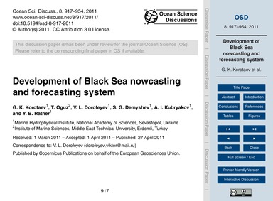 Development of Black Sea Nowcasting and ... by Korotaev, G. K.
