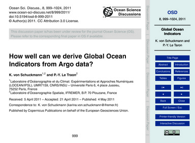 How Well Can We Derive Global Ocean Indi... by Von Schuckmann, K.