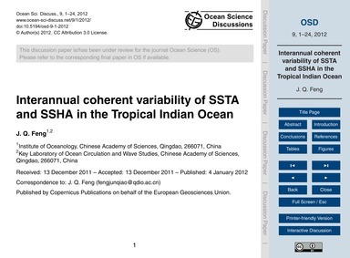 Interannual Coherent Variability of Ssta... by Feng, J. Q.