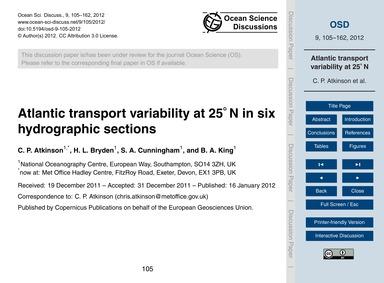 Atlantic Transport Variability at 25° N ... by Atkinson, C. P.