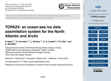 Topaz4: an Ocean-sea Ice Data Assimilati... by Sakov, P.