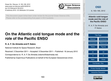 On the Atlantic Cold Tongue Mode and the... by De Almeida, R. A. F.