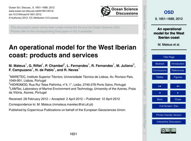 An Operational Model for the West Iberia... by Mateus, M.