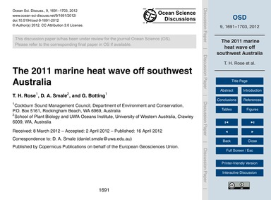 The 2011 Marine Heat Wave Off Southwest ... by Rose, T. H.