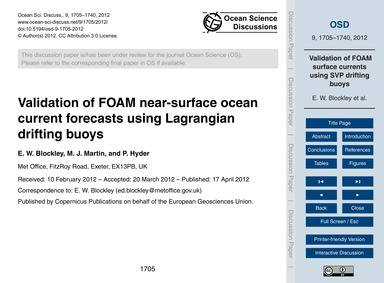 Validation of Foam Near-surface Ocean Cu... by Blockley, E. W.