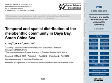 Temporal and Spatial Distribution of the... by Tang, L.