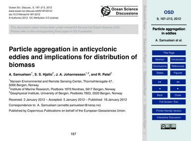 Particle Aggregation in Anticyclonic Edd... by Samuelsen, A.
