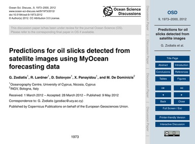 Predictions for Oil Slicks Detected from... by Zodiatis, G.