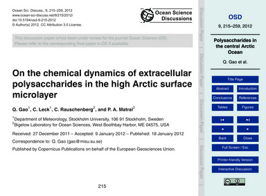 On the Chemical Dynamics of Extracellula... by Gao, Q.