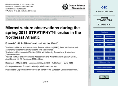 Microstructure Observations During the S... by Jurado, E.