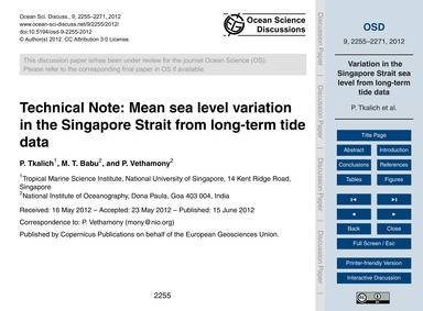 Technical Note: Mean Sea Level Variation... by Tkalich, P.