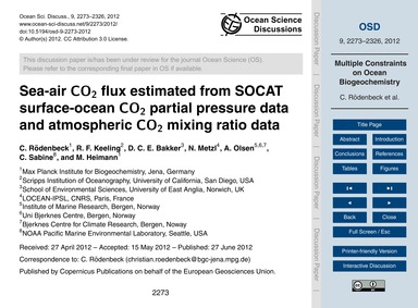 Sea-air Co2 Flux Estimated from Socat Su... by Rödenbeck, C.