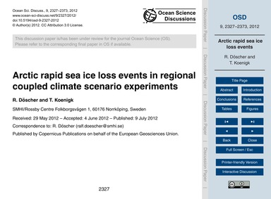 Arctic Rapid Sea Ice Loss Events in Regi... by Döscher, R.