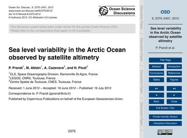 Sea Level Variability in the Arctic Ocea... by Prandi, P.