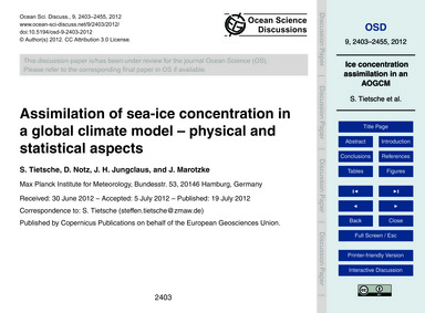 Assimilation of Sea-ice Concentration in... by Tietsche, S.