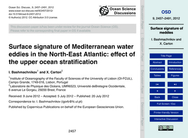 Surface Signature of Mediterranean Water... by Bashmachnikov, I.