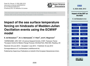 Impact of the Sea Surface Temperature Fo... by De Boisséson, E.