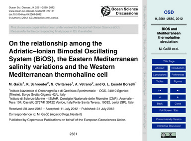 On the Relationship Among the Adriatic–i... by Gačić, M.