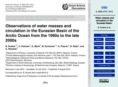 Observations of Water Masses and Circula... by Rudels, B.