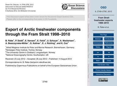 Export of Arctic Freshwater Components T... by Rabe, B.