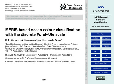 Meris-based Ocean Colour Classification ... by Wernand, M. R.