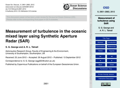 Measurement of Turbulence in the Oceanic... by George, S. G.