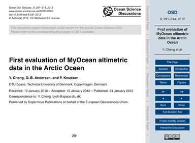 First Evaluation of Myocean Altimetric D... by Cheng, Y.