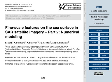 Fine-scale Features on the Sea Surface i... by Matt, S.