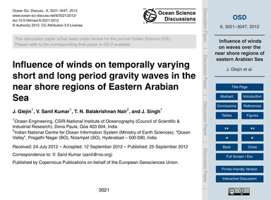 Influence of Winds on Temporally Varying... by Glejin, J.