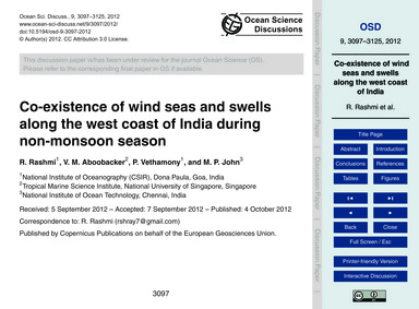 Co-existence of Wind Seas and Swells Alo... by Rashmi, R.