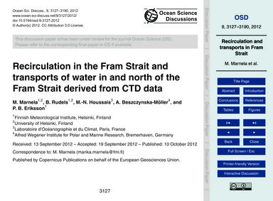 Recirculation in the Fram Strait and Tra... by Marnela, M.