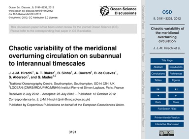 Chaotic Variability of the Meridional Ov... by Hirschi, J. J.-m.