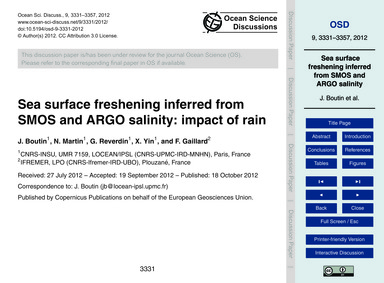 Sea Surface Freshening Inferred from Smo... by Boutin, J.