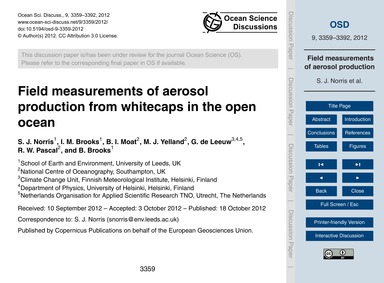 Field Measurements of Aerosol Production... by Norris, S. J.