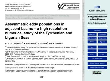 Assymmetric Eddy Populations in Adjacent... by Caldeira, R. M. A.