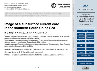 Image of a Subsurface Current Core in th... by Tang, Q. S.