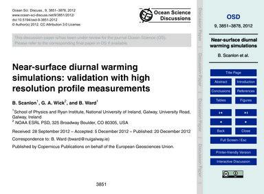 Near-surface Diurnal Warming Simulations... by Scanlon, B.