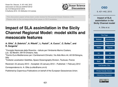 Impact of Sla Assimilation in the Sicily... by Olita, A.