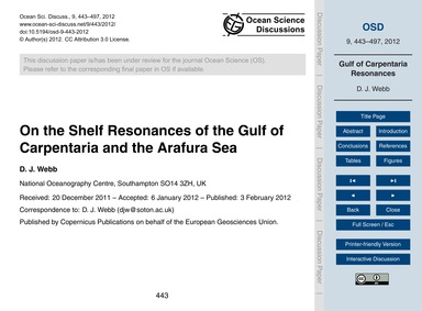 On the Shelf Resonances of the Gulf of C... by Webb, D. J.