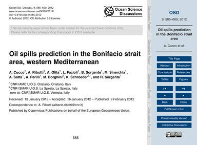 Oil Spills Prediction in the Bonifacio S... by Cucco, A.