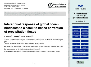 Interannual Response of Global Ocean Hin... by Storto, A.
