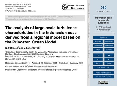The Analysis of Large-scale Turbulence C... by O'Driscoll, K.