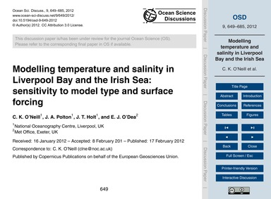 Modelling Temperature and Salinity in Li... by O'Neill, C. K.