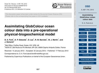 Assimilating Globcolour Ocean Colour Dat... by Ford, D. A.