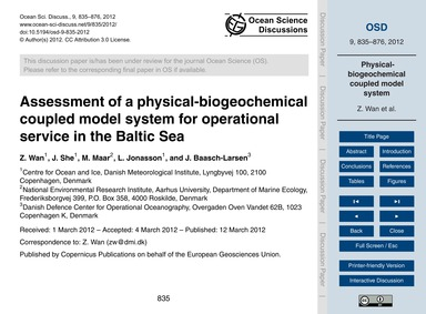 Assessment of a Physical-biogeochemical ... by Wan, Z.